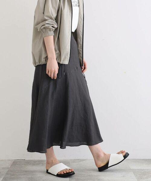 INDIVI / インディヴィ ロング・マキシ丈スカート   ラミーボイルアシメ切替マーメイドスカート   詳細7