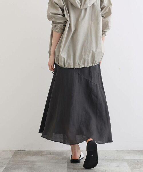 INDIVI / インディヴィ ロング・マキシ丈スカート   ラミーボイルアシメ切替マーメイドスカート   詳細8