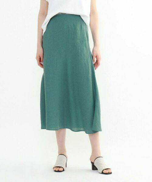 INDIVI / インディヴィ ロング・マキシ丈スカート   ラミーボイルアシメ切替マーメイドスカート(グリーン(022))