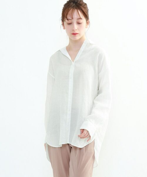 INDIVI / インディヴィ チュニック   ラミーボイルチュニックシャツ(ホワイト(001))