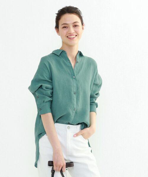 INDIVI / インディヴィ チュニック   ラミーボイルチュニックシャツ(グリーン(022))