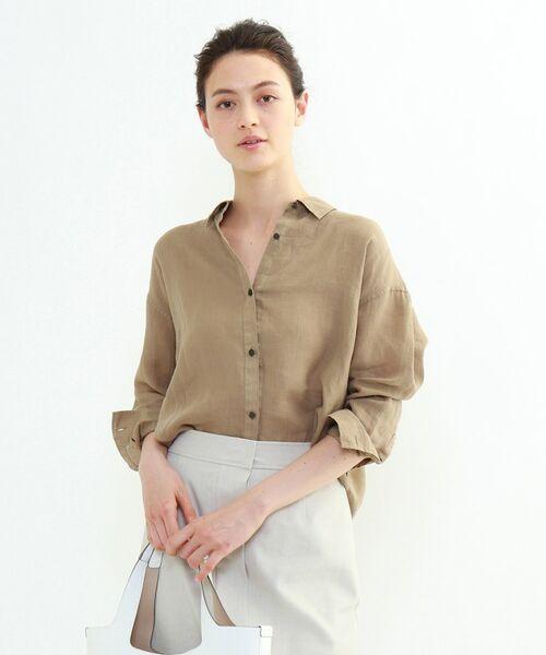 INDIVI / インディヴィ チュニック   ラミーボイルチュニックシャツ(サンドベージュ(053))