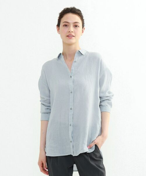 INDIVI / インディヴィ チュニック   ラミーボイルチュニックシャツ(サックス(090))