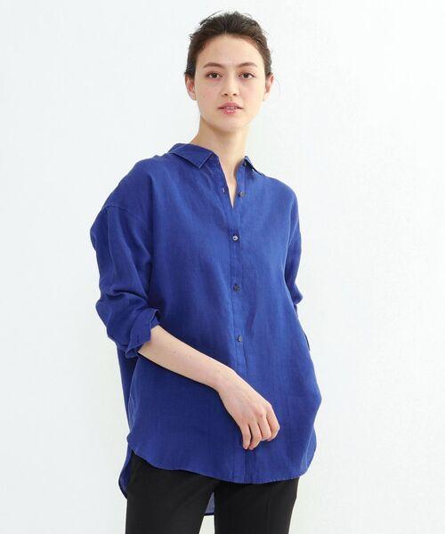 INDIVI / インディヴィ チュニック   ラミーボイルチュニックシャツ(ブルー(092))