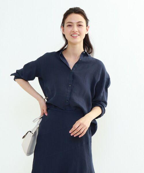 INDIVI / インディヴィ チュニック   ラミーボイルチュニックシャツ(ネイビー(093))