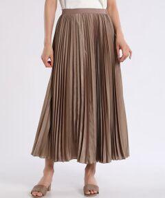 【with1月号掲載】【non-no1月号掲載】【MORE9月号掲載】【シティリビング11月号掲載】<br/><br/>上品な印象のプリーツスカート。やや透け感があるため、コーディネートを涼し気にみせてくれるだけでなく、女性らしく着こなせるのも嬉しいポイント。また、ウエスト部分がゴム素材になっているため楽に着られるので長時間の着用も負担にならないおすすめのアイテムです。<br/><br/>・裏地あり<br/>・ウエストゴム仕様