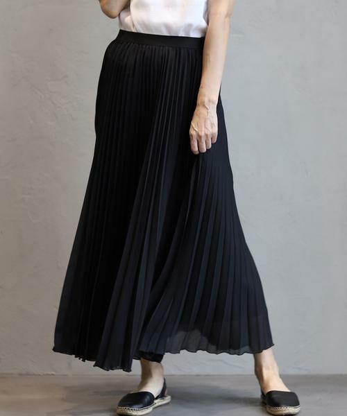 INED / イネド ミニ・ひざ丈スカート | ロングプリーツスカート(ブラック)