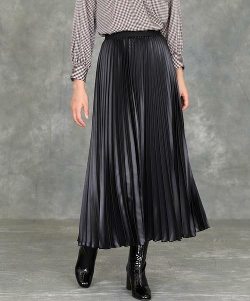 INED / イネド ミニ・ひざ丈スカート   プリーツスカート(ブラック)