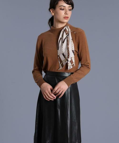INED / イネド ニット・セーター | スカーフ付プルオーバーニット(キャメル1)