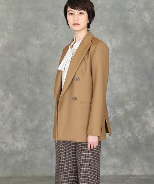 INED / イネド テーラードジャケット | 《INED international》ダブルブレストジャケット(キャメル1)