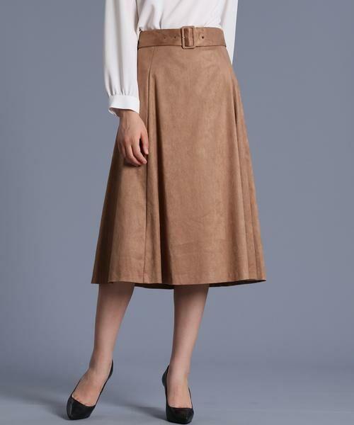 INED / イネド ミニ・ひざ丈スカート | フェイクスエードフレアスカート《KOMASUEDE》(キャメル1)