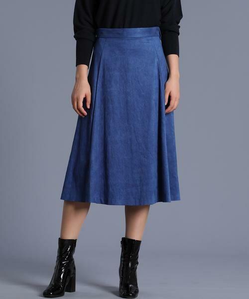 INED / イネド ミニ・ひざ丈スカート | フェイクスエードフレアスカート《KOMASUEDE》(ブルー1)