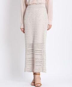 【Oggi3月号掲載】<br/><br/>トレンドライクなかぎ編みスカート。2つの編み方をドッキングさせ、ニュアンスのある一着に。Iラインのロングシルエットで上品な印象を残しながら、膝までのさりげない透け感が女性らしさを感じさせます。リネンの涼しさとコットンの柔らかさ、レーヨンの光沢感を兼ね備えた素材はこれからの季節にぴったりで水洗いできるのも嬉しいポイントです。<br/><br/>・ウエストゴム仕様<br/>・裏地あり<br/>・水洗い可<br/><br/>■仕様変更<br/>裏地が3センチ長くなります。予めご了承ください。<br/><br/>■サンプル撮影商品■<br/>こちらの商品はサンプルでの撮影となっております。実際の商品とは、商品情報(生産国、色味、上代、納期など)が変更になる場合がございます。予めご了承ください。