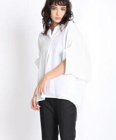 抜け襟シルエットが楽しめるシャツ。一見シンプルですが、さっと着ただけで何にでも合わせやすく、決まりやすいシルエットがポイント。麻のもつハリ感は残しながらも、ソフトな風合いに仕上げられた軽く着心地で、リラックス感が女性らしいデザインのシャツです。<br/><br/>《MONTI/モンティ》<br/>イタリア生地メーカー MONTI。<br/>イタリアメーカーならではのカラーの表現感と、リネンのハリがありながらもソフトな風合いに仕上げたラグジュアリー感が自慢です。<br/><br/>・裏地なし <br/>・水洗い可<br/><br/>■サンプル撮影商品■<br/>こちらの商品はサンプルでの撮影となっております。実際の商品とは、商品情報(生産国、色味、上代、納期など)が変更になる場合がございます。予めご了承ください。
