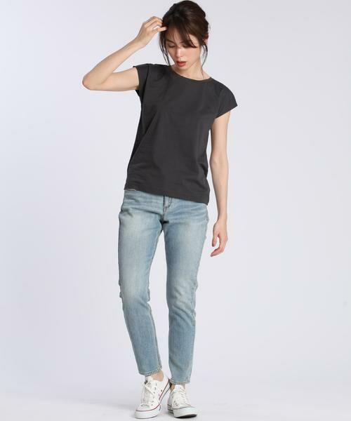 INED / イネド Tシャツ | フレンチスリーブカットソー《スビン綿Mix天竺》 | 詳細21