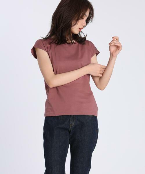 INED / イネド Tシャツ | フレンチスリーブカットソー《スビン綿Mix天竺》(エンジ6)