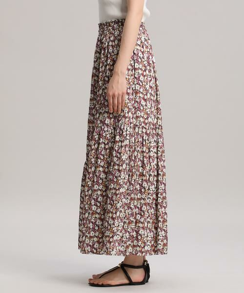 INED / イネド ミニ・ひざ丈スカート   ティアードプリントスカート《Viscotecs》   詳細3
