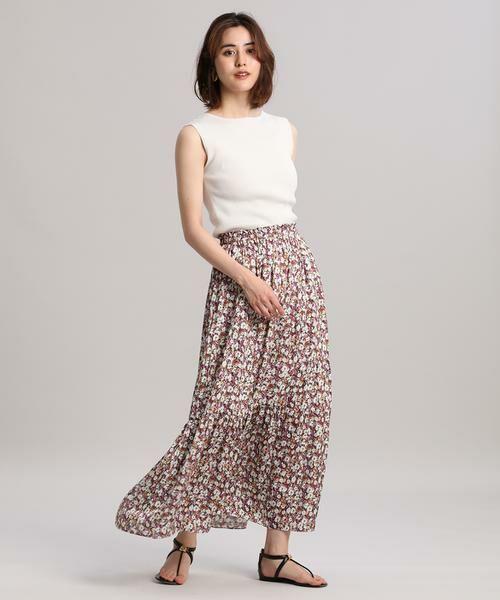 INED / イネド ミニ・ひざ丈スカート   ティアードプリントスカート《Viscotecs》   詳細6
