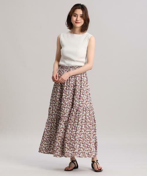 INED / イネド ミニ・ひざ丈スカート   ティアードプリントスカート《Viscotecs》   詳細7