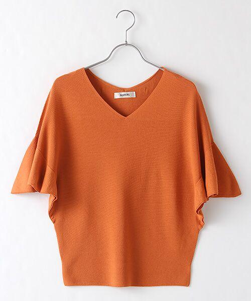 INGEBORG / インゲボルグ ニット・セーター | 後リボンVネックニットプルオーバー(オレンジ)