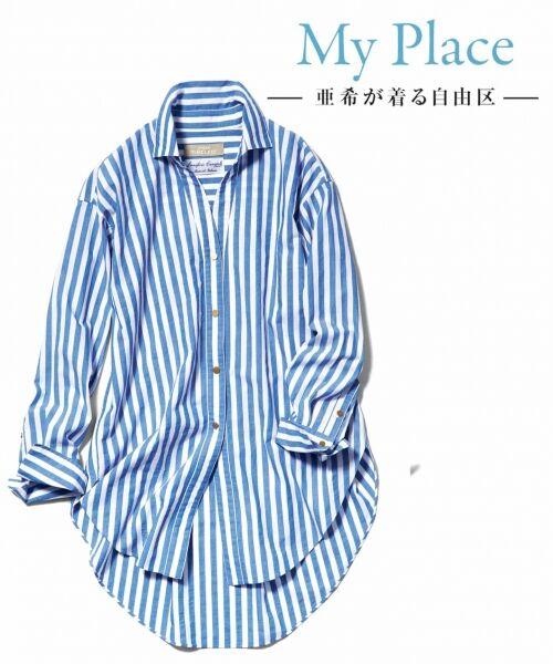 自由区 / ジユウク トップス | 【マガジン掲載】TIMELESS イタリアCANGIOLI ロングシャツ(検索番号C46)(ブルー系ストライプ)