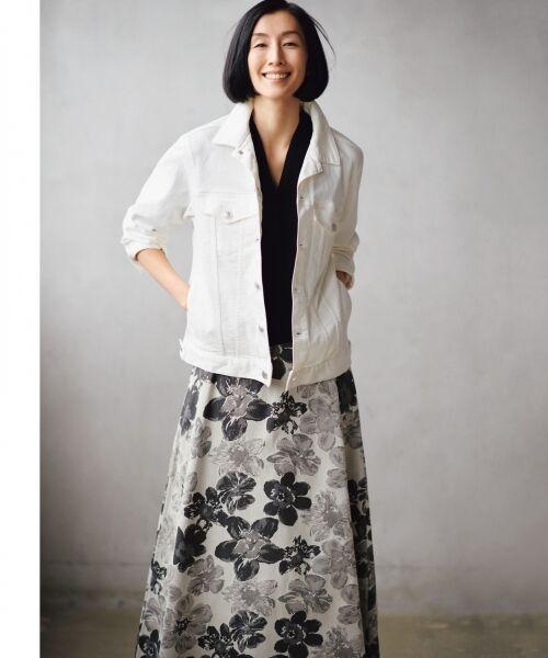 自由区/ジユウク 【マガジン掲載】SAKURA ジャカード リバーシブルスカート(検索番号E42) グレー系6 40
