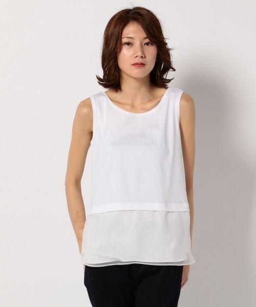 J.PRESS / ジェイプレス Tシャツ | レイヤードジャージー シフォンカットソー(ホワイト系)