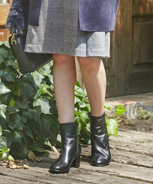 J.PRESS / ジェイプレス ブーツ(ロング丈)   【履き心地にこだわった】チャンキーヒール ショートブーツ(ブラック系)
