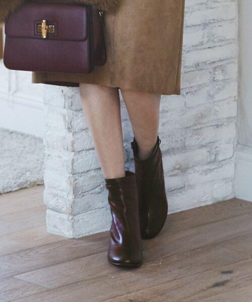 J.PRESS / ジェイプレス ブーツ(ロング丈)   【履き心地にこだわった】チャンキーヒール ショートブーツ(ダークブラウン系)