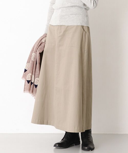 かぐれ / かぐれ スカート | 起毛サテンマキシスカート(BEIGE)