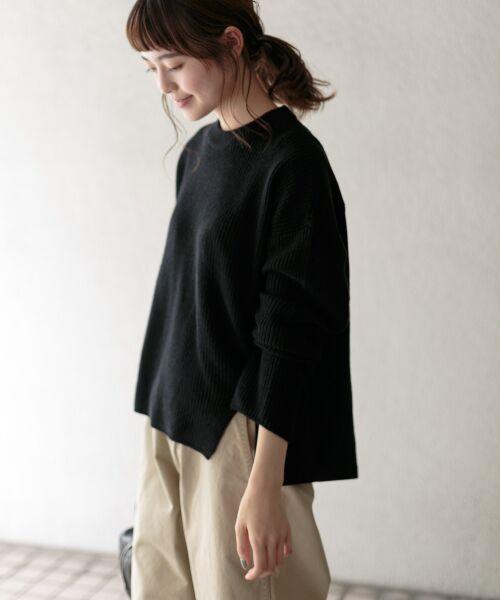 かぐれ / かぐれ ニット・セーター | スウェットコンビプルオーバーニット(BLACK)