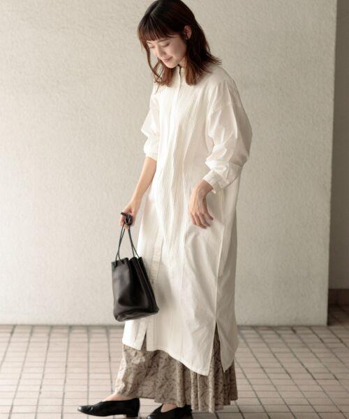 かぐれ / かぐれ ワンピース | ピンタックワイドシャツワンピース(OFF WHITE)