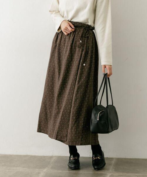 かぐれ / かぐれ スカート | sigalm 小紋柄ラップスカート(BROWN)
