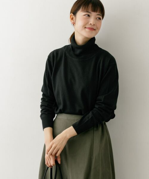 かぐれ / かぐれ ニット・セーター | ハイゲージタートルネックニット(BLACK)
