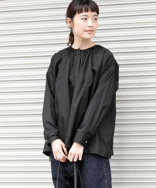 かぐれ / かぐれ シャツ・ブラウス   コットンオックスギャザーシャツ(BLACK)