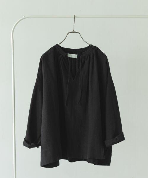 かぐれ / かぐれ シャツ・ブラウス | コットンシルクギャザースモック(BLACK)