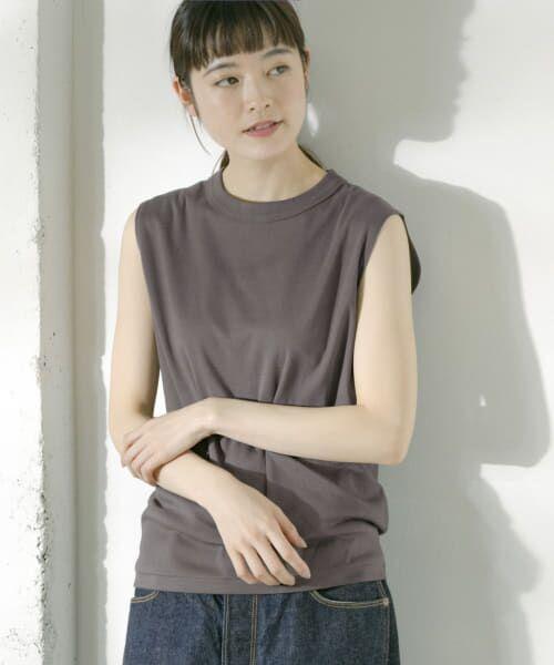 かぐれ / かぐれ Tシャツ   ロータスコットンノースリーブ(CHARCOAL)