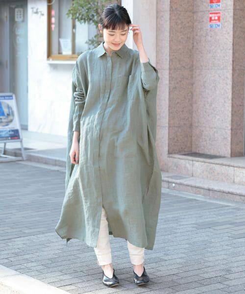かぐれ / かぐれ ワンピース   リネンワイドシャツワンピース   詳細15