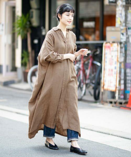 かぐれ / かぐれ ワンピース   リネンワイドシャツワンピース   詳細27