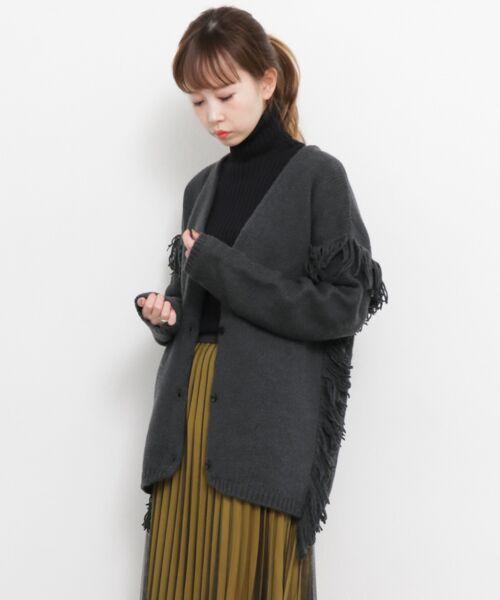 KBF / ケービーエフ ニット・セーター | フリンジBIGカーディガン(INK BLACK)