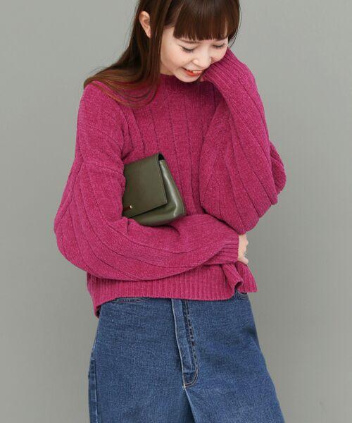 KBF / ケービーエフ ニット・セーター | ワイドリブモールヤーンニット(PINK)