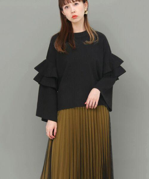 KBF / ケービーエフ ニット・セーター | フリルスリーブニット(BLACK)
