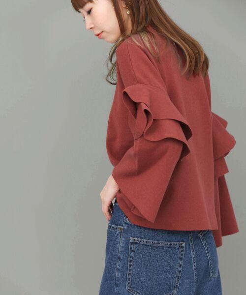 KBF / ケービーエフ ニット・セーター | フリルスリーブニット(RED)