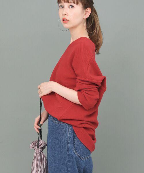 KBF / ケービーエフ Tシャツ | ロングスリーブワッフルプルオーバー(RED)