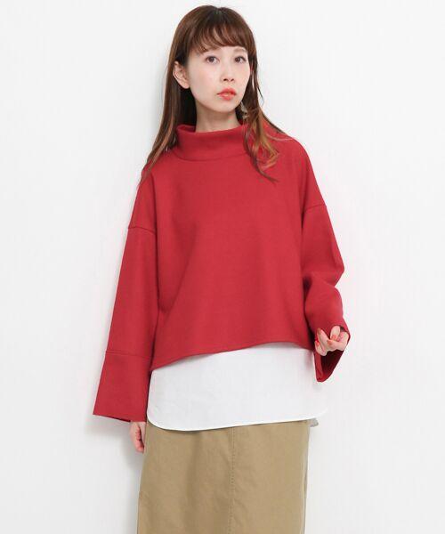 KBF / ケービーエフ Tシャツ   ウールmixタンク付きレイヤードカットソー(RED)