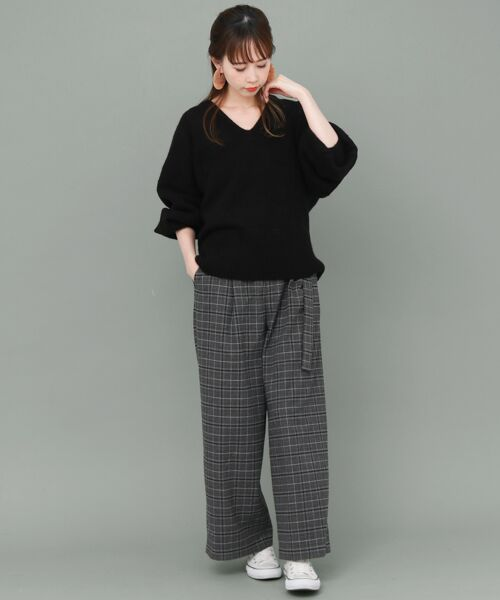 KBF / ケービーエフ ニット・セーター   WEB限定 パフスリーブVネックニット   詳細7
