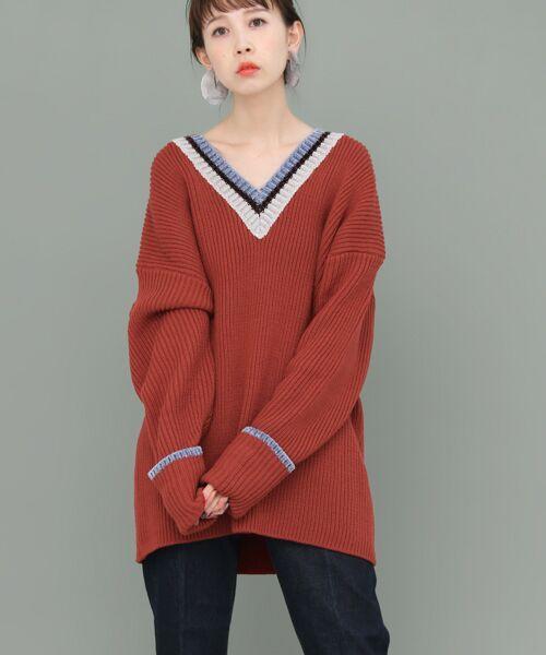 KBF / ケービーエフ ニット・セーター | WEB限定 カラーリブニット(RED)