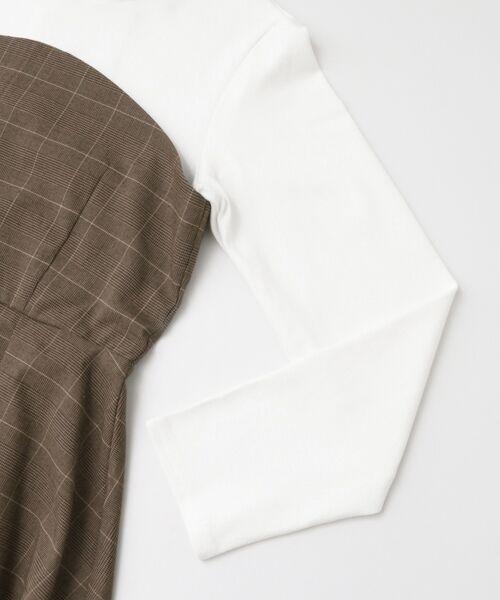 KBF / ケービーエフ Tシャツ | KBF+ チェックビスチェ切り替えカットソー | 詳細8