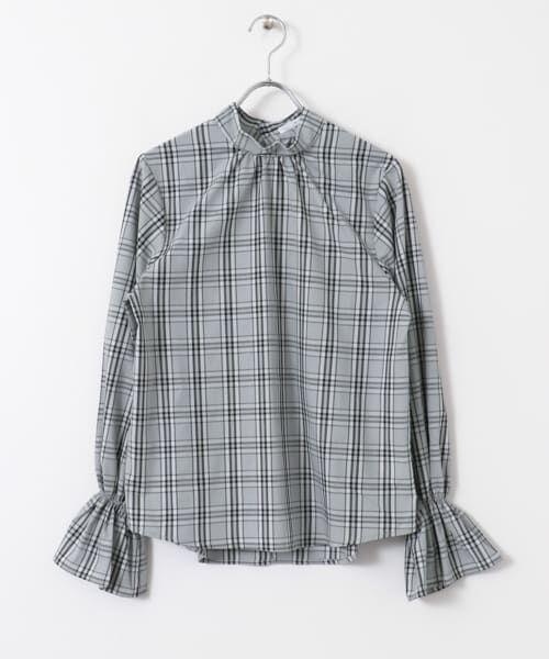 KBF / ケービーエフ シャツ・ブラウス | スタンドネックチェックシャツ(GRAY)
