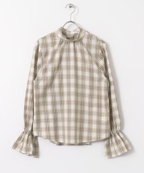 KBF / ケービーエフ シャツ・ブラウス | スタンドネックチェックシャツ(BEIGE)